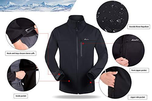 Clothin Men's Softshell Jacket Windproof Front-Zip Fleece-Lined Ski Insulated Coat(Black 2XL)