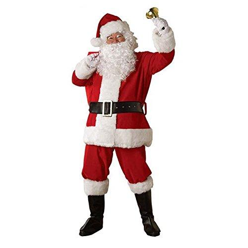 サンタクロース 衣装 メンズ サンタ コスプレ コスチューム 6点セット ブーツ カバー付き Barsado(ジャケット+ズボン+ベルト+帽子+ひげ+靴カバー)