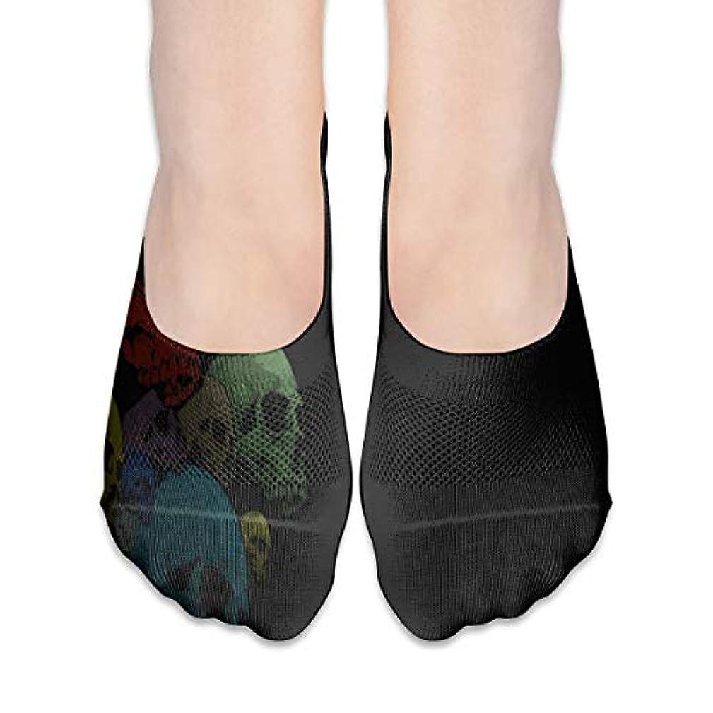 製造副時代遅れ女性のカラフルなスカルヘッドローカットコットンボート隠し目に見えない靴下