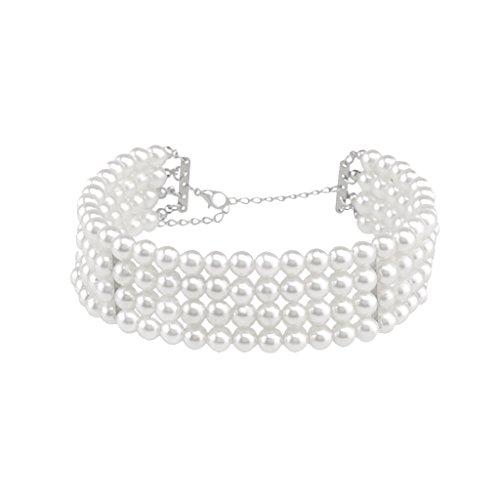 [해외]Lovoski 다층 인공 진주 초커 목걸이 화이트 고귀한 장식/Lovoski multilayered artificial pearl choker necklace white noble ornaments