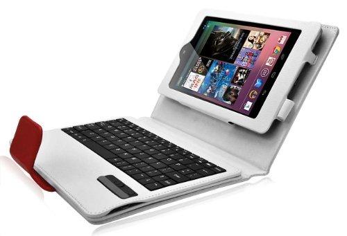 CrazyOnDigital Bluetoothキーボードタブレットスタンドレザーケースfor Google Nexus 7タブレット