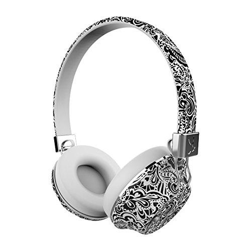 ファッションover-ear Bluetooth aptX NC Headphone、メモリFoam Earpads、Peerless HDサウンド、メタル仕上げ、スワロフスキークリスタル、Evoking Emotionパターン&カラー20+時間、再生時間、マイク内蔵、折りたたみ可能なD シルバー PL-03