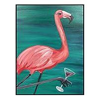 壁画の装飾画ピンクフラミンゴのベッドサイドペインティングクリエイティブレストラン動物壁画 (Color : Black, Size : 38x53*3.5cm)