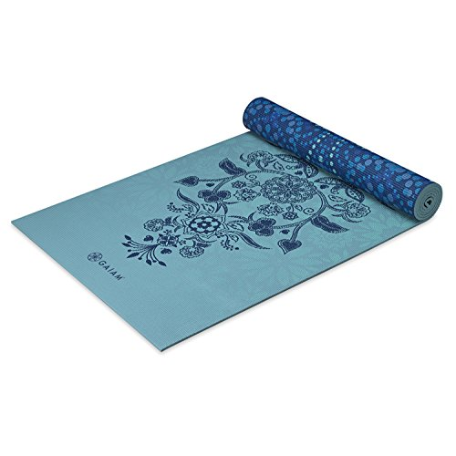 "Gaiam Yoga Mat - Premium 6mm Print Reversible Extra Thick Exercise & Fitness Mat for All Types of Yoga, Pilates & Floor Exercises (68"" x 24"" x 6mm Thick), Premium Print Yoga Mat, 05-62899, Mystic Sky, 6mm"
