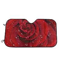 車のフロントガラスの日よけ赤いバラの水滴サンバイザー、フロントガラスのサンバイザー、UVフロントガラスのサンバイザー(70 x 130 cm)