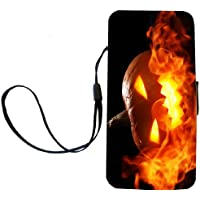 Rikki Knight Halloween Pumpkin in Fire Flip Wallet iPhoneCase with Magnetic Flap for iPhone 5/5s - Halloween Pumpkin in Fire [並行輸入品]