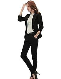 就活 スーツ パンツスーツ レディース 結婚式 着痩せスーツol スーツ オフィススーツセットアップ おしゃれビジネス 通勤 事務服(XXL, ブラック)