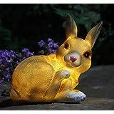 Solar Statue Bunny Garden Ornament, Rabbit Sculpture with Solar Power Light Outdoor Figurine Lights for Outdoor Patio Pathway