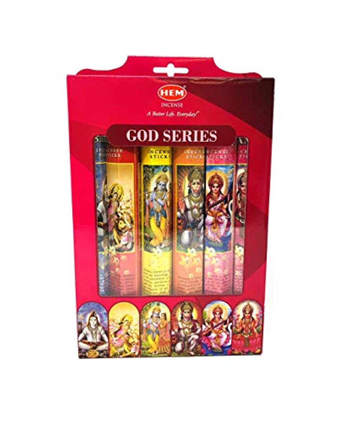 印象的債務突破口Hem Indian God Series Incense Sticks Variety Combo #1 6 x 20 = 120 Total by Hem