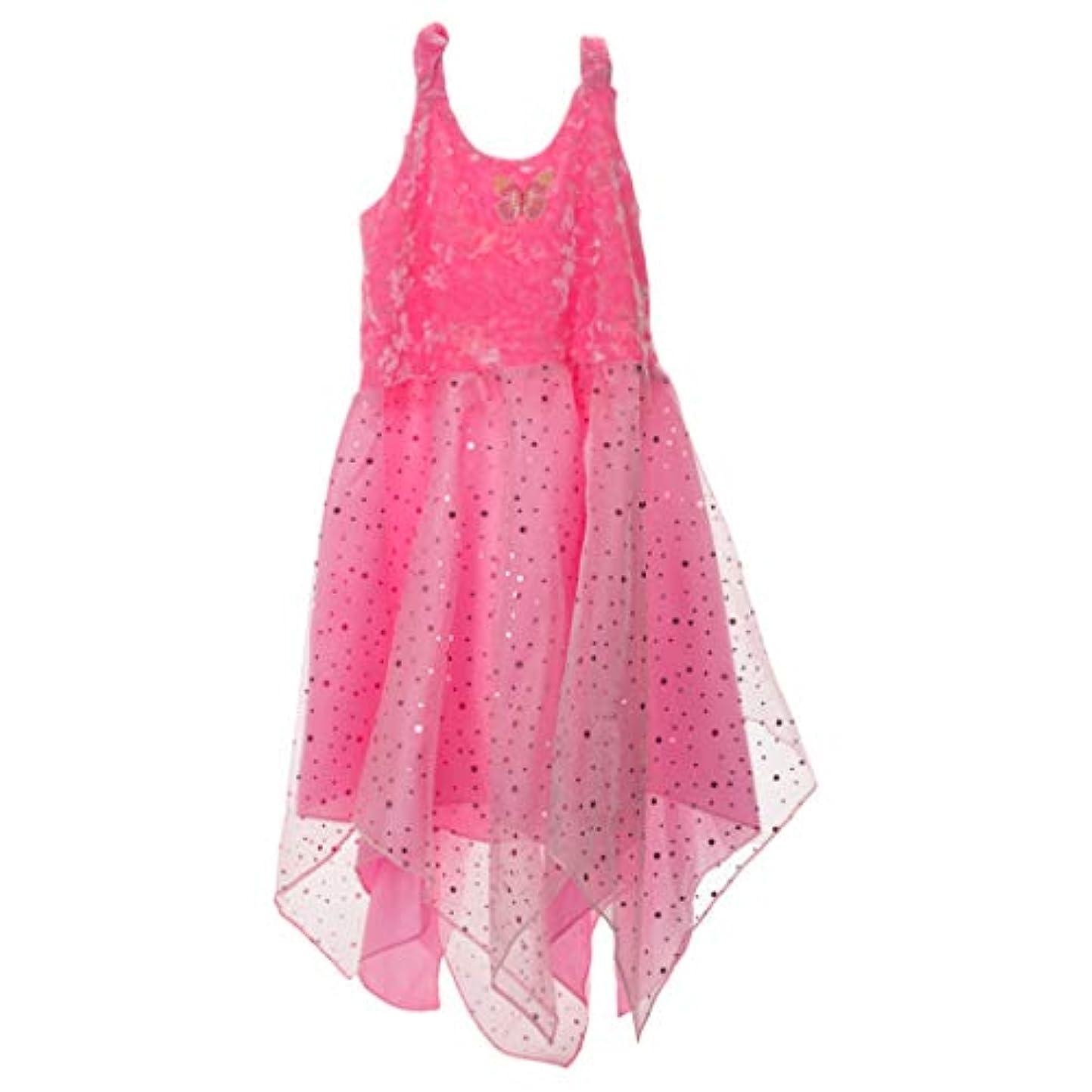 子豚舞い上がる退却フェアリーダンサー キャンディピンク ミディアム オーガンジーファブリック 子供用コスチュームドレス