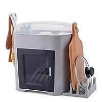 キッチンラック 食器乾燥棚と蓋カバー付きボードを排出し、キッチンプレートカップ食器乾燥棚トレイカトラリー食器水切り カトラリーホルダー、水切り器 (Color : Gray)