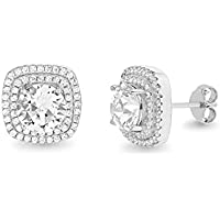 Devin Rose Round Square Double Halo Stud Earrings for Women Made With Swarovski Crystals in 925 Sterling Silver
