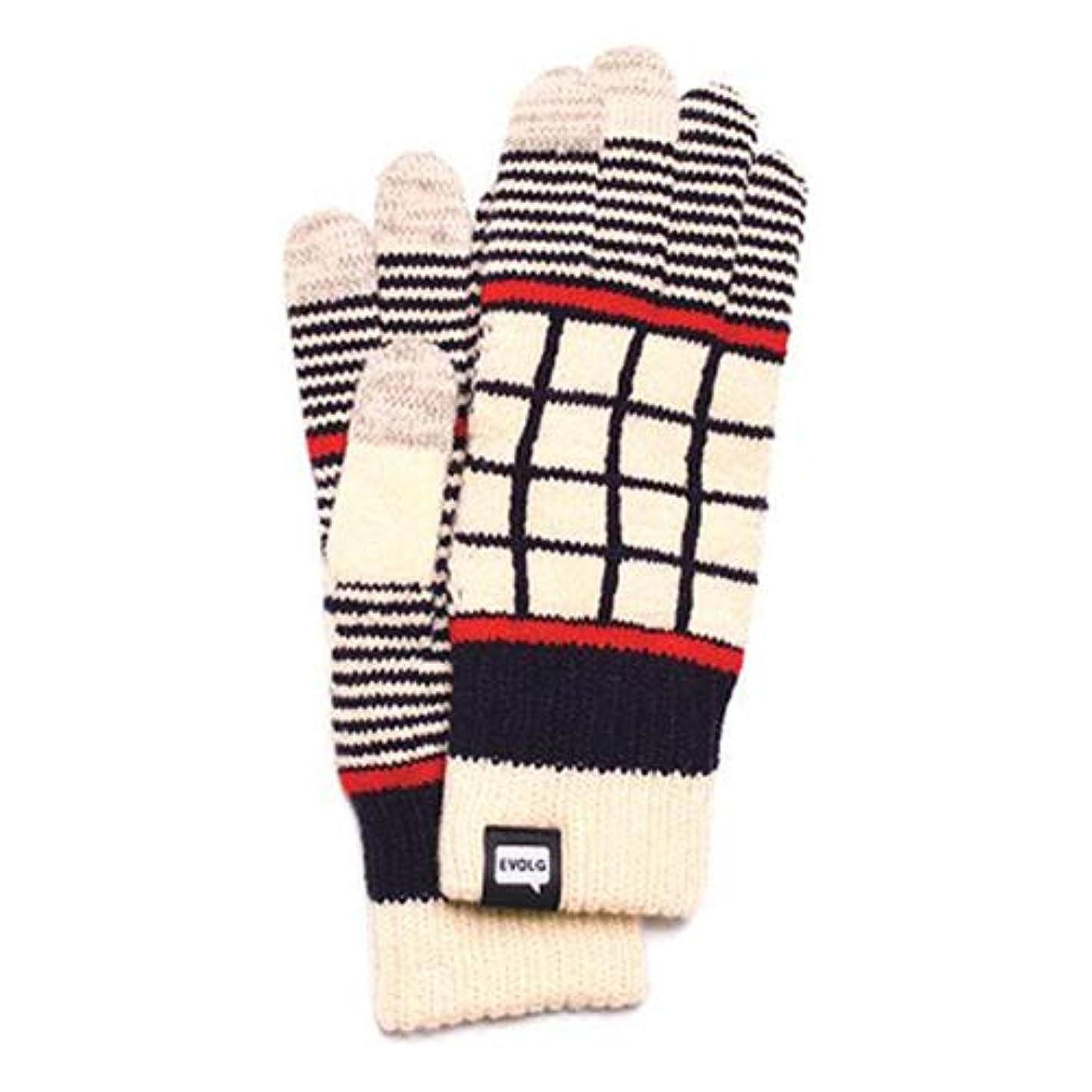 ブルゴーニュ実業家等々EVOLG(エヴォログ) タッチパネル対応手袋 LATTICE LET 2519 バニラ×ネイビー フリーサイズ