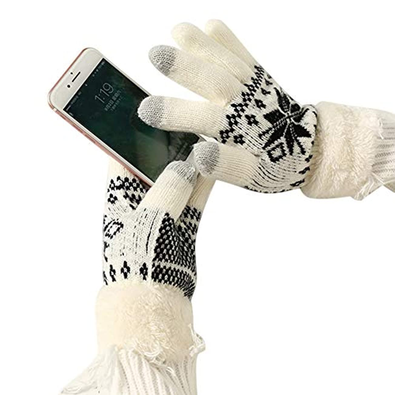 古くなった近代化羊飼いTengfly女性タッチスクリーングローブ、冬暖かいニットグローブ、柔らかい余分な暖かいフリースタッチスクリーングローブ、女性のための雪の花編み肥厚冬屋外2019新しいクリスマスギフト