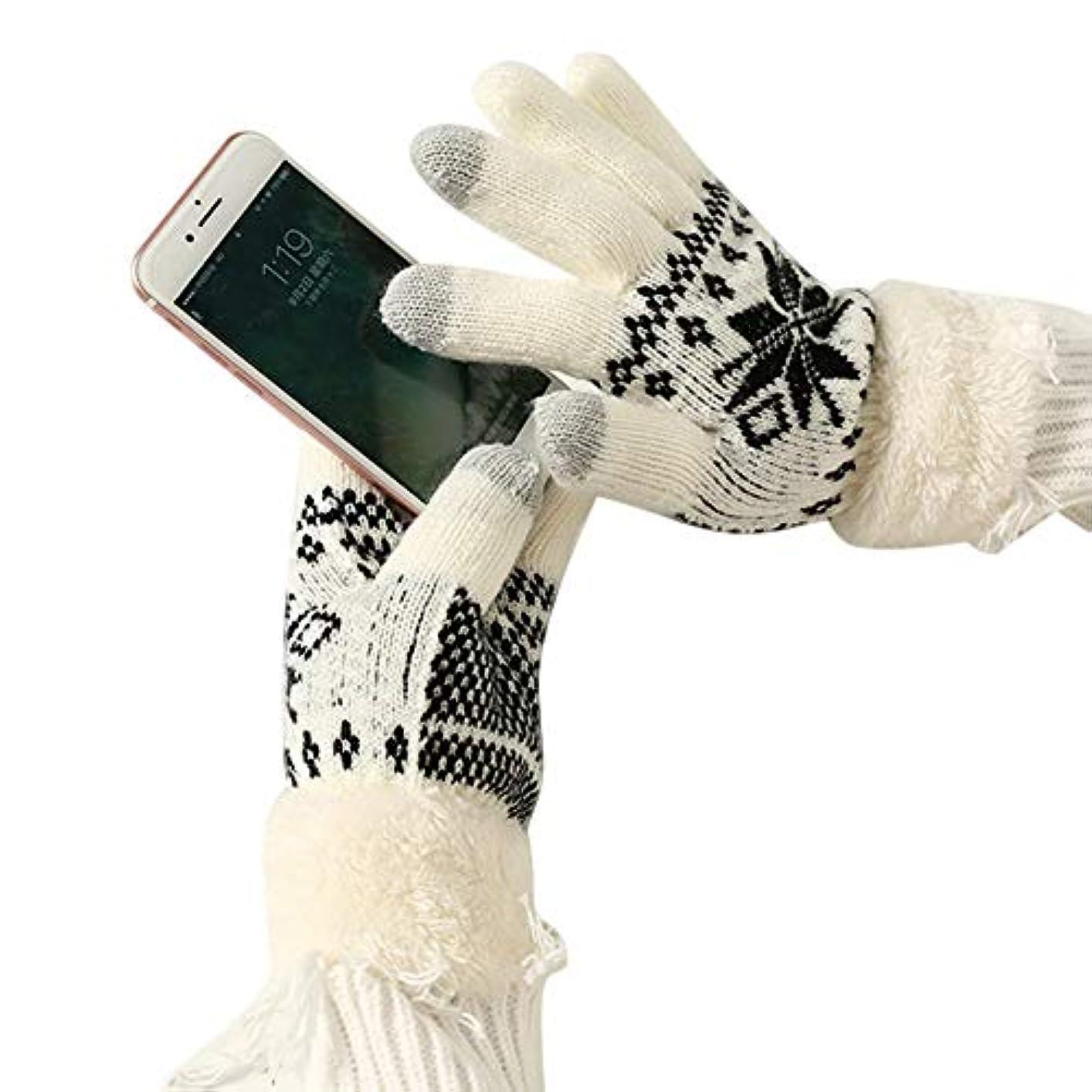 ホット効果的突撃Tengfly女性タッチスクリーングローブ、冬暖かいニットグローブ、柔らかい余分な暖かいフリースタッチスクリーングローブ、女性のための雪の花編み肥厚冬屋外2019新しいクリスマスギフト