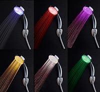COTWレインボー7色変更可能1年保証LEDシャワーヘッドPowered by Running水なし、電池Ever必要な。