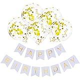 Vergeania 12インチゴールデン紙吹雪風船誕生日風船白お誕生日おめでとうバナープル花誕生日パーティーの衣装。誕生日デコレーションパーティーデコレーション (色 : A011)