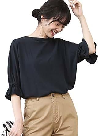 (コーエン) COEN カットソー tシャツ 半袖 カットソー tシャツ 半袖 梨地ギャザースリーブカットソー 76256008055 0900 BLACK(09) FREE