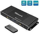 TESmart HDMI KVM Switch 4ポートKVMスイッチ 4K@60Hz PC切り替えサポートマルチメディアキーボード&Mouse USB2.0機器は最高4台のコンピュータにコントロールするサーバ、DVRを制御  リモートコントロールディスプレイ HDCP 2.2