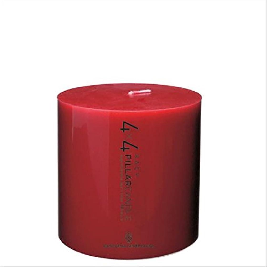 コードレスプット番号カメヤマキャンドル(kameyama candle) 4×4ピラーキャンドル 「 レッド 」