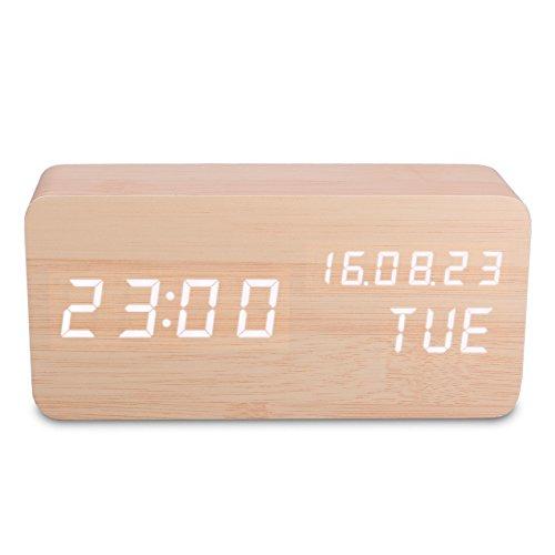 木製 LED置き時計 多機能 目覚まし時計 音声感知 温度計 デジタル時計 カレンダー アラーム機能 LEDライト (茶色)