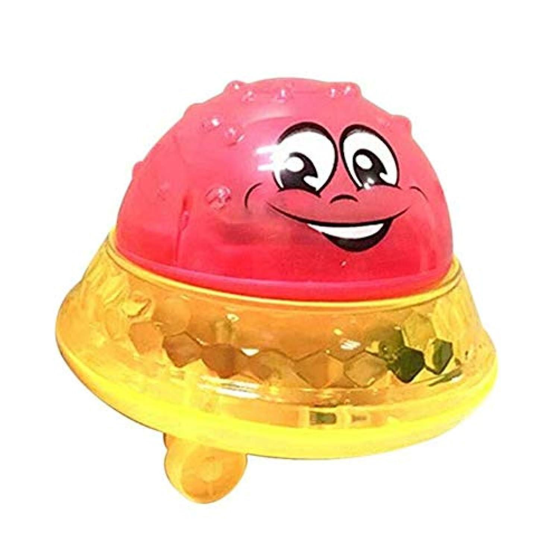 ZooArts おもちゃ お風呂用 ウォーター ボール 噴水シャワーボール スプレーボール ライト かわいい 水遊び バスおもちゃ 子供 幼児 (レッド, ベース付き)