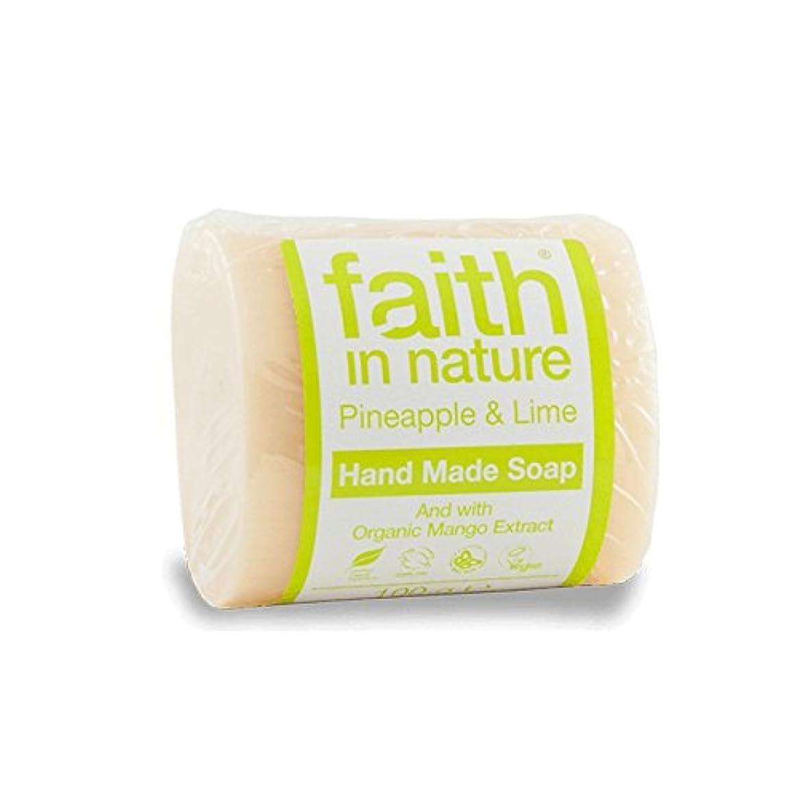 声を出して合金漏斗Faith in Nature Pineapple & Lime Soap 100g (Pack of 6) - 自然パイナップル&ライムソープ100グラムの信仰 (x6) [並行輸入品]