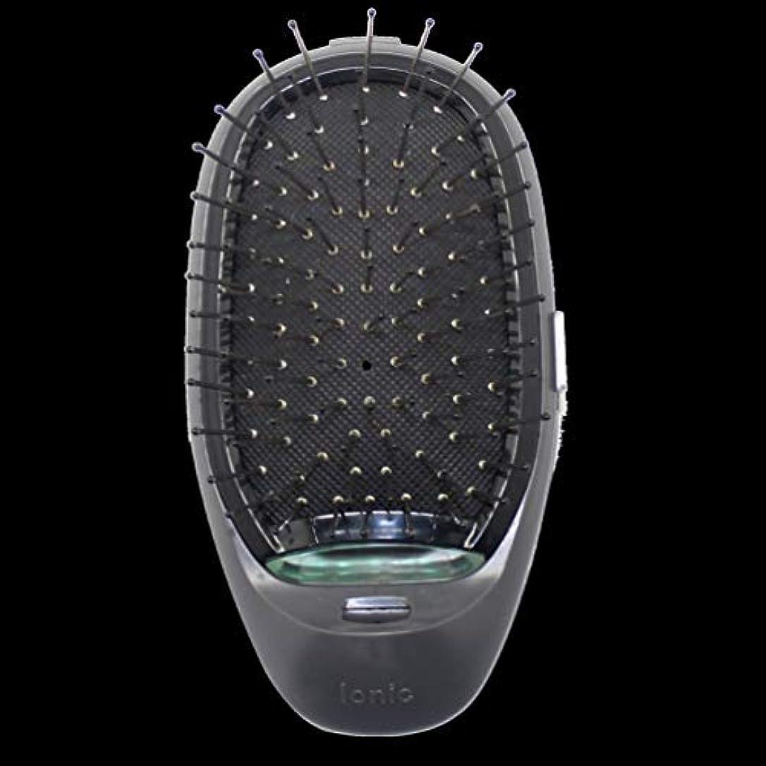 畝間バター優れた電動マッサージヘアブラシミニマイナスイオンヘアコム3Dインフレータブルコーム帯電防止ガールズヘアブラシ電池式 - ブラック