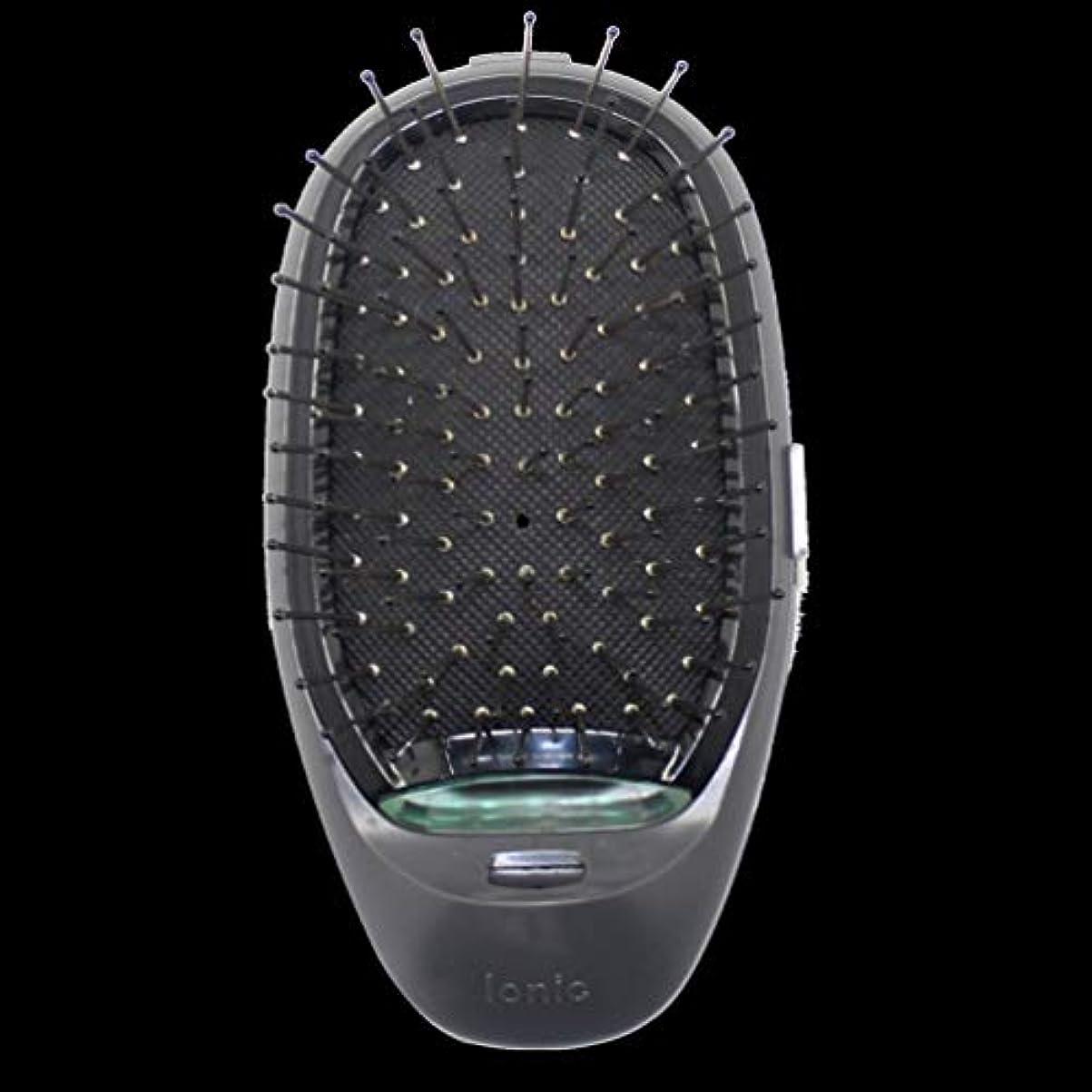 腸近所の破壊的電動マッサージヘアブラシミニマイナスイオンヘアコム3Dインフレータブルコーム帯電防止ガールズヘアブラシ電池式 - ブラック