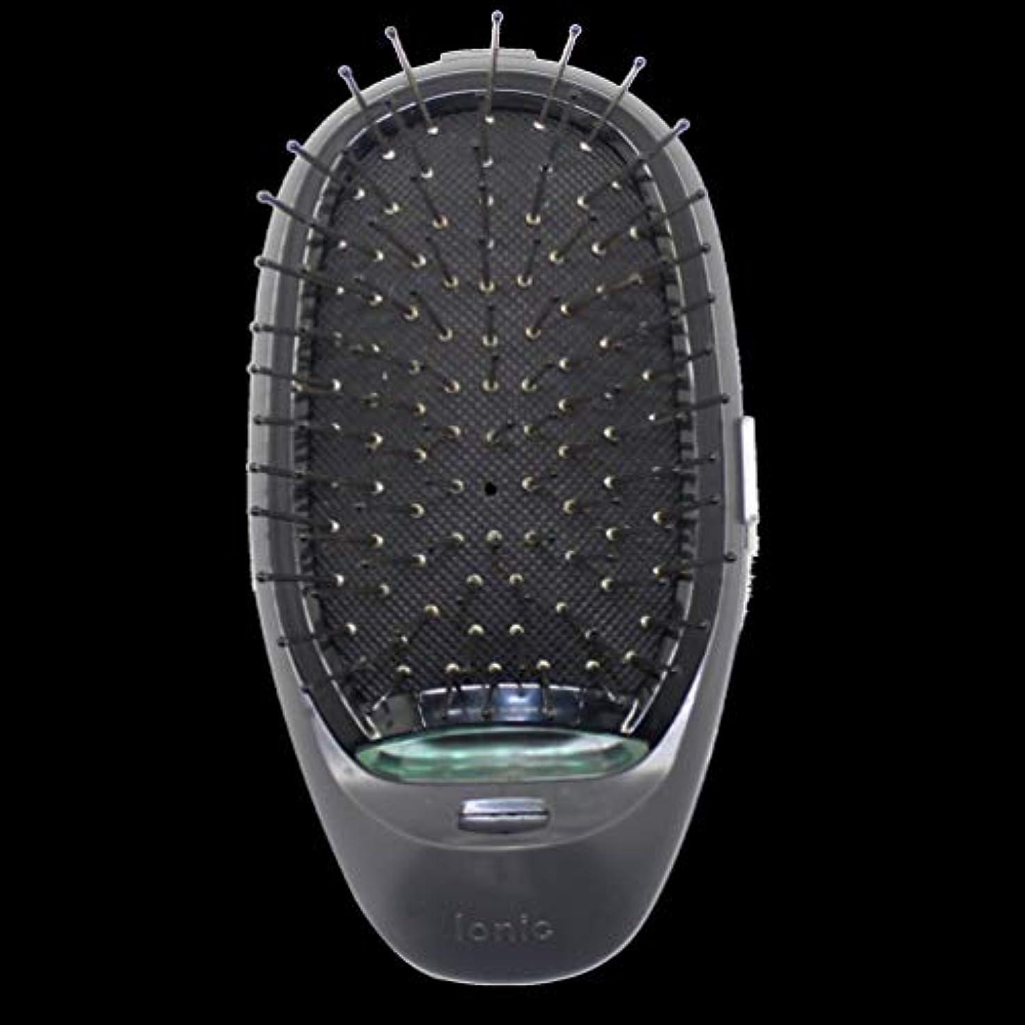 名義でパッド協会電動マッサージヘアブラシミニマイナスイオンヘアコム3Dインフレータブルコーム帯電防止ガールズヘアブラシ電池式 - ブラック