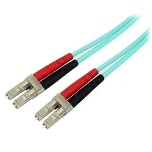 StarTech.com 光ファイバーケーブル 5m アクア/水色 10ギガ対応光パッチコード マルチモード コア径50ミクロン/芯径125ミクロン 2芯LC-LCコネクタ A50FBLCLC5