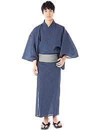 (キョウエツ) KYOETSU メンズ浴衣4点セット しじら 綿麻 C 新サイズ (浴衣/角帯/下駄/腰紐)