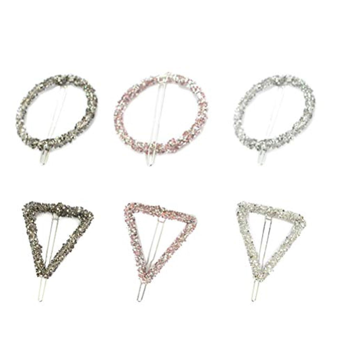 最小化する芽水素Lurrose 6ピーストライアングルヘアピン中空幾何学的合金ヘアピンヘアクランプサークルトライアングル用女性