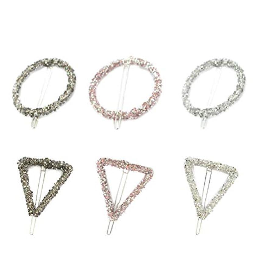 Lurrose 6ピーストライアングルヘアピン中空幾何学的合金ヘアピンヘアクランプサークルトライアングル用女性