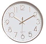 【TPGROWIN】時計 壁掛け ウォール クロック えんけい アナログ 表示 デジタル 大画面 連続秒針 音しない 静かな 見やすい インテリア 装飾 簡単 モダン お洒落 (, ローズゴールド)