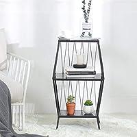 マガジンラック シンプルラック フロア収納ラック ベッドサイド収納ボックス 錬鉄製の棚 ベッドサイドテーブル ベッドルームの棚 (Color : 白, Size : 40*31*73cm)