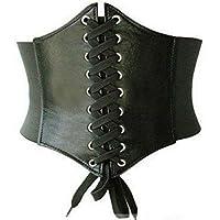 Waist Cincher Corset Black Wide Band Elastic Tied Waspie Belt Leather Soft