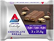Atkins Endulge Chocolate Break Bars | Keto Friendly Bars | 3 x 21.5g Low Carb Chocolate Bars | Low Carb, Low S