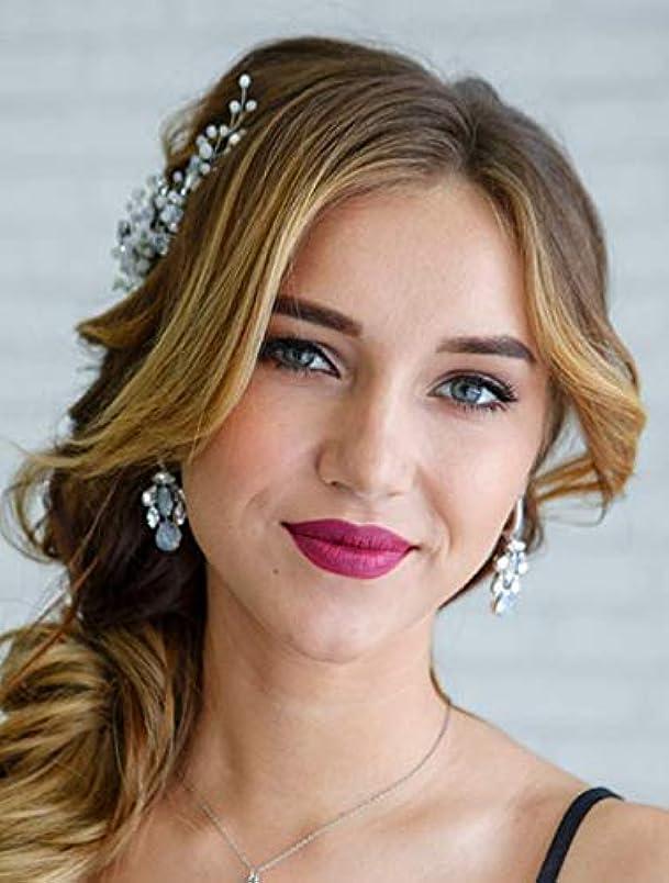 デンマーク語批評新着Deniferymakeup Headpiece Hair Comb Wedding Bridal Hair Vine Opal Hair Comb Bridal Something Blue for Bride Hair...