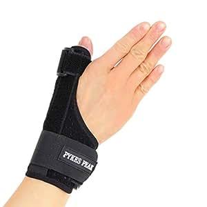 PYKES PEAK 親指/手首サポーター メッシュ素材 親指 通気性 ばね指 腱鞘炎 突き指 手首固定 関節症 捻挫 親指付け根の骨折 脱臼 など フリーサイズ 1枚(左右兼用)