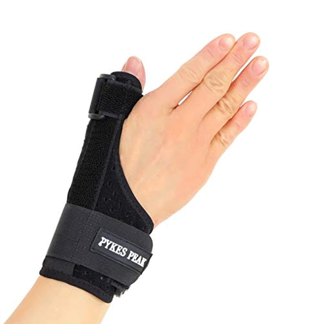 キノコ着実にとまり木PYKES PEAK 親指/手首サポーター メッシュ素材 親指 通気性 ばね指 腱鞘炎 突き指 手首固定 関節症 捻挫 親指付け根の骨折 脱臼 など フリーサイズ 1枚(左右兼用)