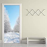 Xbwy 現代の冬の雪の風景3D壁画壁紙リビングルームの寝室のドア壁画ステッカーPvc自己接着防水家の装飾-120X100Cm