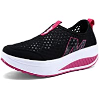 katliu Women's Rocker Shoes Soft Toning Breathable Mesh Wedges Platform Shoes Lightweight Slip-On Fitness Walking Shoes