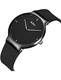 時計、メンズ腕時計、レディースシンプルファッションデザインカジュアルビジネスドレスアナログクォーツシリコン防水マルチ機能腕時計(ブラック)