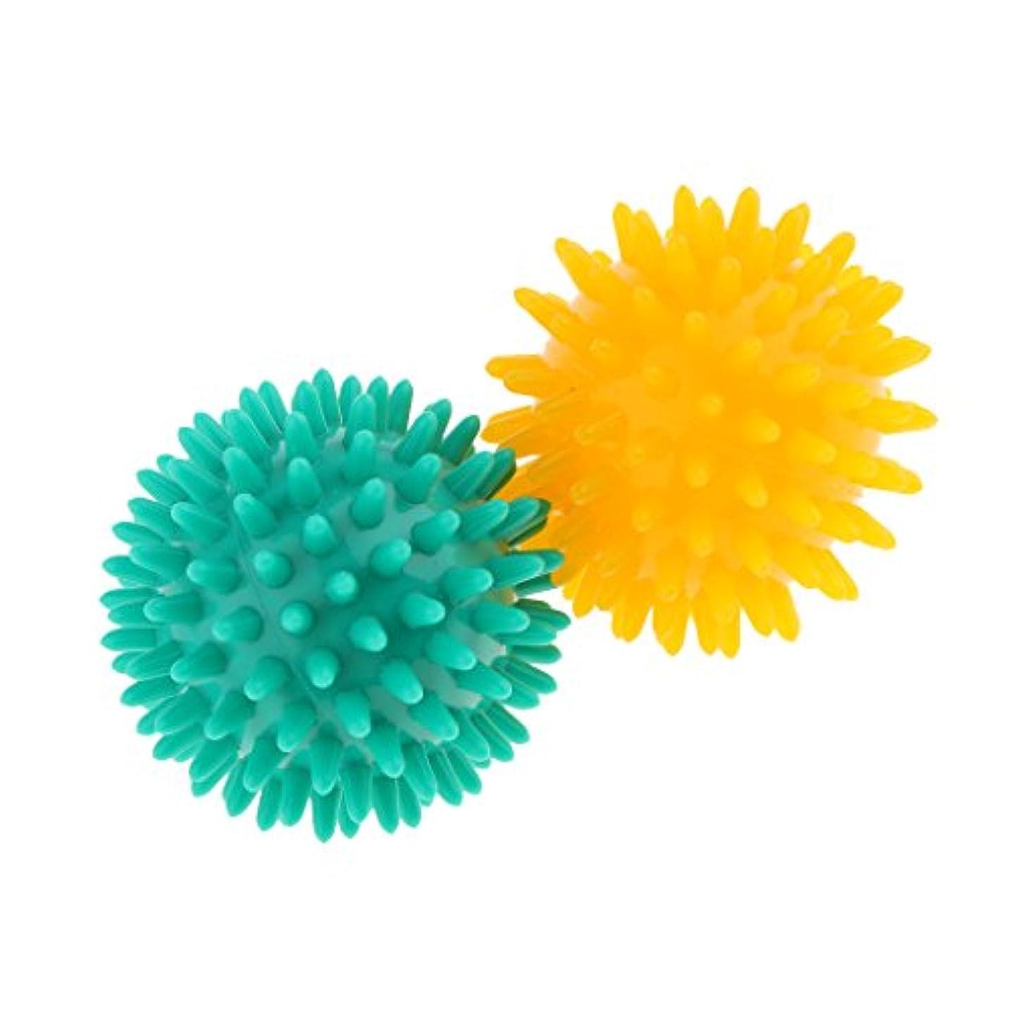 タッチ障害商品Baosity マッサージボール スパイシー マッサージ ボディトリガー リラックス PVC 2個セット 3タイプ選べ - イエローグリーン