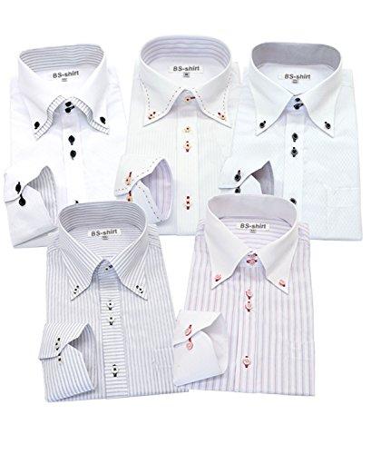 ビジネスマンサポート 長袖ワイシャツ5枚セット 豊富な7サイズ bc 033-L