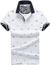 [コンサバーティブ]ポロシャツ メンズ 半袖 夏 ゴルフ おしゃれ 鹿の プリント カジュアル トップス polo シャツ襟付き