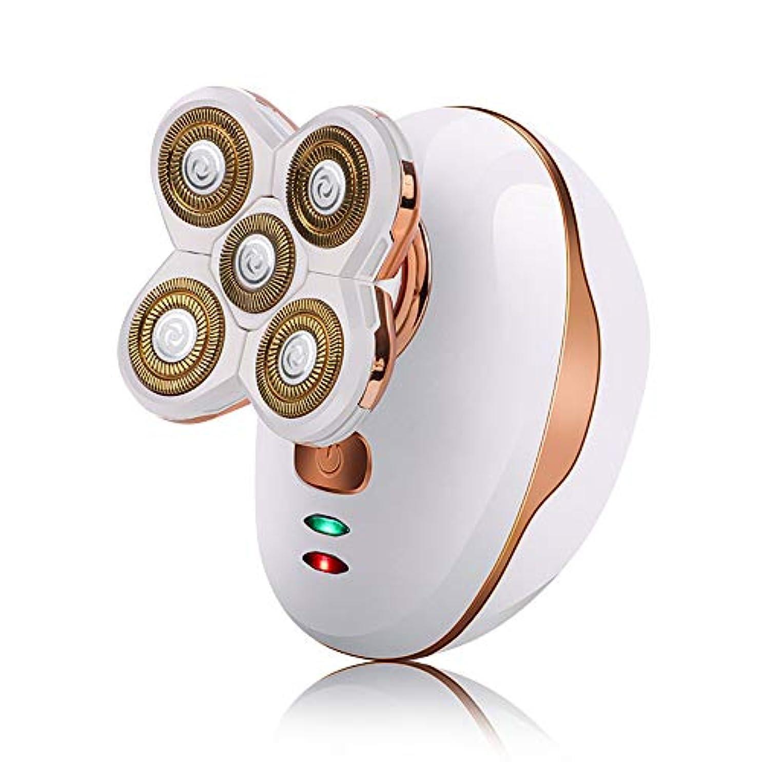 会話しなやかうなり声メンズ電気シェーバーかみそり、シェーバー五頭の充電式防水ウォッシュセルフケア光学ヘッドシェービングナイフのUSB充電,白