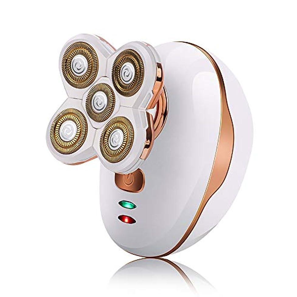草無実構造メンズ電気シェーバーかみそり、シェーバー五頭の充電式防水ウォッシュセルフケア光学ヘッドシェービングナイフのUSB充電,白
