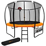 12ft Round Trampoline Basketball Set Safety Net Ladder Spring Pad KickDeck